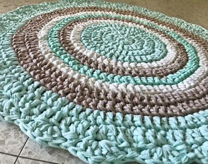 שטיח לחדר ילדים , ירוק מנטה עדין , שטיח לחדר, שטיחים , שטיח לחדר תינוק, שטיח סרוג, שטיח מחוטי טריקו