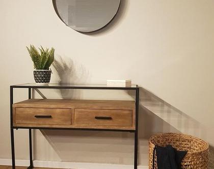 קונסולה שידת כניסה/איפור 2מגירות עץ בשילוב ברזל וזכוכית