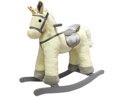 סוס נדנדה חד קרן שמנת , סוס עץ נדנדה, סוס נדנדה לילדים, סוס לילדים, סוס נדנדה מעץ