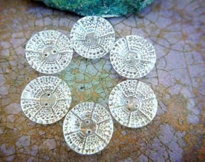"""כפתורי זכוכית וינטג' עתיק בגודל 18 מ""""מ, כפתורי קריסטל תוצרת צ'כיה, 6 כפתורים"""