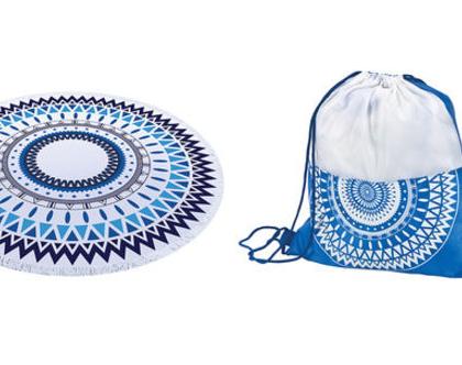 מגבת חוף עגולה עבה דגם מנדלה 150 ס,מ כחול תיק שרוך לנשיאה