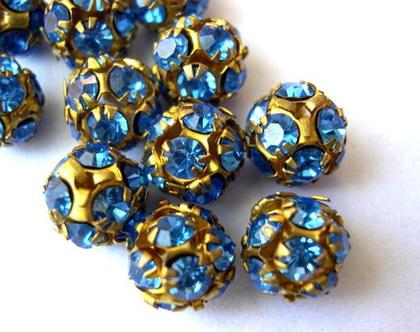 """2 חרוזי סוורובסקי, קריסטלים בגוונים כחולים משובצים בכדור מתכת בגודל 10 מ""""מ, חרוזי וינטג'"""