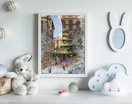 סט תמונות על קנבס.דב הקוטב ועץ אשוח לחדר ילדים