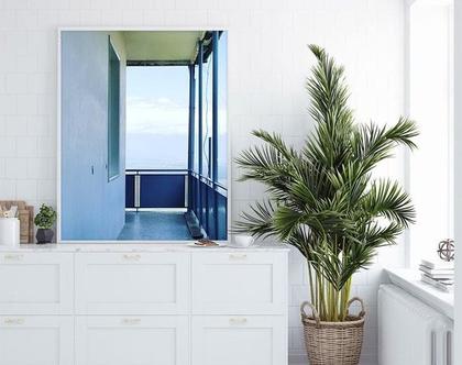 צילום על קנבס. נוף תכלת ממרפסת. מלבן בגודל 50×70 . מגיע בגדלים נוספים בהתאמה ללקוח