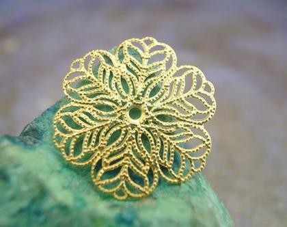 """2 פרחים וינטג', מתכת, ליצירת תכשיטים, 27 מ""""מ צבע זהב בדוגמת תחרה"""
