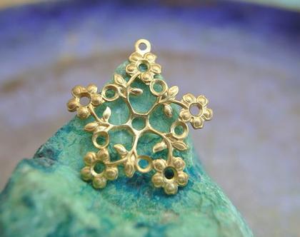 """4 פרחים וינטג', מתכת, ליצירת תכשיטים, 27 מ""""מ, מתאים להיות תליון או חרוז תולה"""