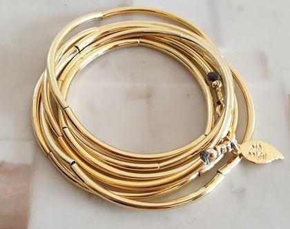 צמיד - שרשרת צינורות בציפוי זהב