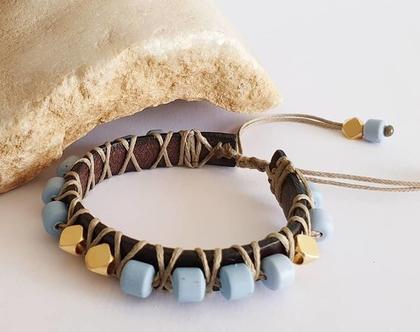 צמיד עור בשילוב חרוזי סיליקון וחרוזים בציפוי זהב