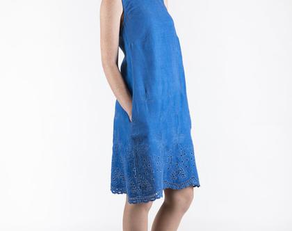 שמלת ג'ינס צבוע בצבע כחול ים-דגם פוקט