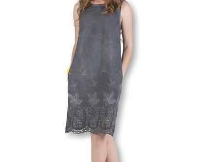 שמלת ג'ינס צבוע בצבע פחם-דגם פוקט