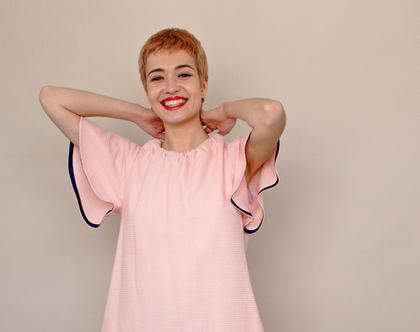 חדש! שמלת פיקה בורוד בייבי, שמלת מיני, טוניקה ורודה עם כיסים, קשירה בגב