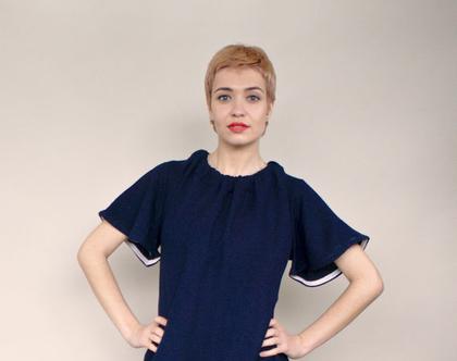 חדש! שמלת בכחול נייבי, שמלת מיני, טוניקה כחולה עם כיסים, קשירה בגב