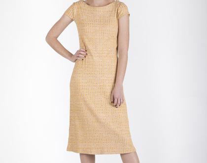 שמלה בגיזרה ישרה בצבע חול-דגם מיקונוס