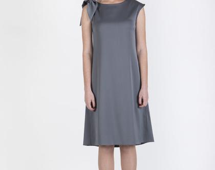 שמלת סטן בצבע אפור דגם אוליבון