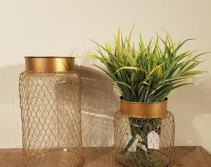 MM אגרטל זכוכית ורשת זהב