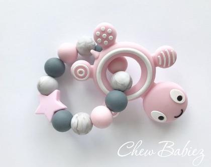 נשכן לתינוקות / נשכנים סיליקון צב ורוד / נשכנים לשיניים / נשכן סיליקון / מתנות לתינוקות / מתנה לתינוק / Pink turtle teething ring