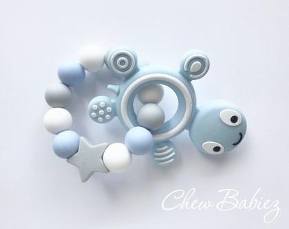 נשכן סיליקון לתינוקות / נשכנים סיליקון צב כחול / נשכנים לשיניים / מתנות לתינוקות / מתנה לתינוק / Blue turtle teething ring
