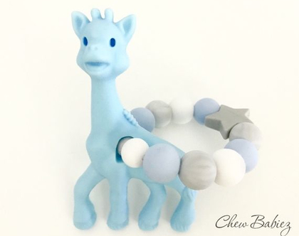 נשכן סיליקון לתינוקות / נשכנים סיליקון דגם גירפה כחולה / נשכנים לשיניים / מתנות לתינוקות / מתנה לתינוק / Blue giraffe teething ring