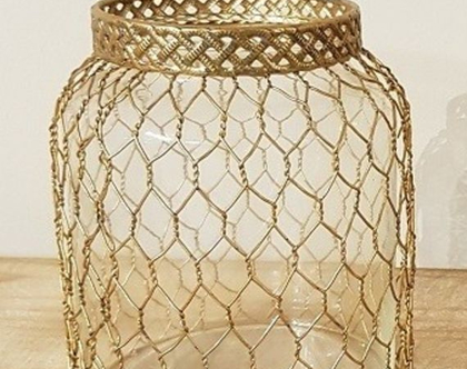 MM אגרטל זכוכית ורשת