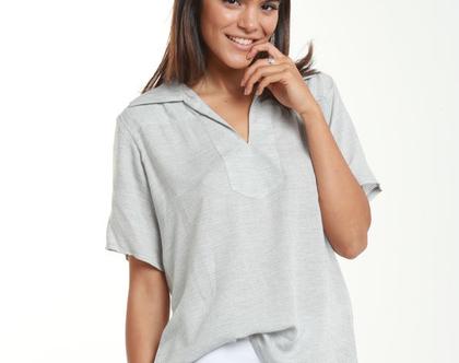חולצה מבד כותנה דקיק בצבע אפור בטון-דגם מנצחת