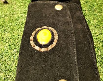 פאוץ' חגורת כיסים מעור,עם אבן לקישוט
