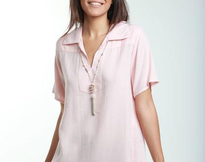 חולצה מבד כותנה דקיק בצבע ורוד אפרסק-דגם מנצחת