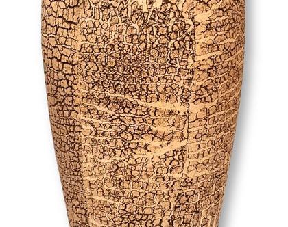 """אגרטל רצפה. עבודת יד. בסגנון עתיק בצבע חול (מדבר) מק""""ט 1034"""