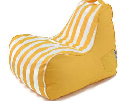 פוף כורסא צהוב-לבן לבית ולגינה