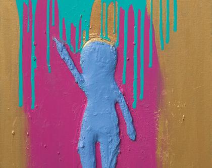 לידה של תדר צעיר כחול לעולם - עבודת אמנות בטכניקה מעורבת מקורית על קנווס