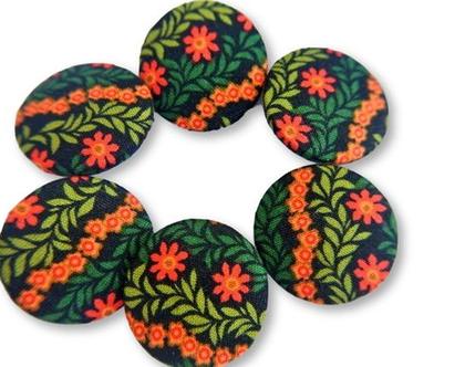 """כפתורים עבודת יד מבד כותנה שחור הדפס פרחים כתומים ועלים, כפתורי בד כותנה 32 מ""""מ, שישה כפתורים"""
