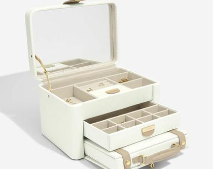 קופסת תכשיטים מעור עם מזוודה לנסיעות