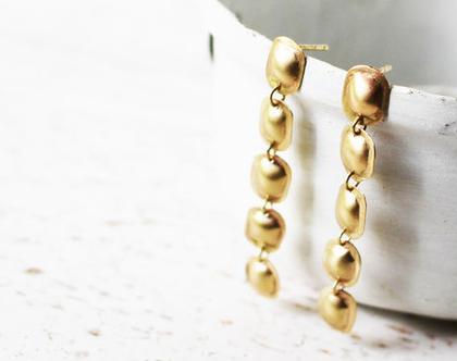 עגילי שרשרת בועות מלבניות זהב 14k