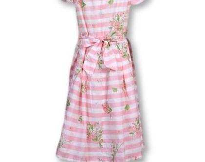 שמלת פסים ורודה כותנה עם חגורה אחורית - מילי