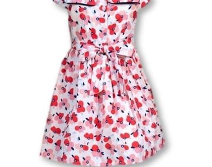 שמלה מסתובבת לילדה   שמלת קיץ לילדה   צווארון עגול חגורת קשירה בגב -פלורה
