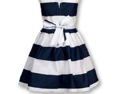 שמלת פסים רחבים כחול לבן כותנה ללא שרוול - קפטן