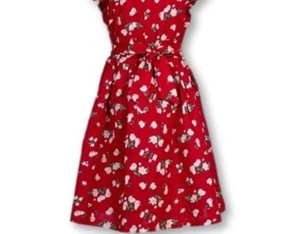 שמלה לילדה   שמלה פרחונית אדומה  