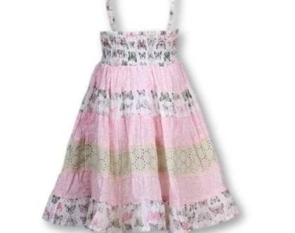שמלה מסתובבת לילדה   שמלה לילדה   שמלת קומות כתפיות וגומי כיווץ מאחור-גלידה