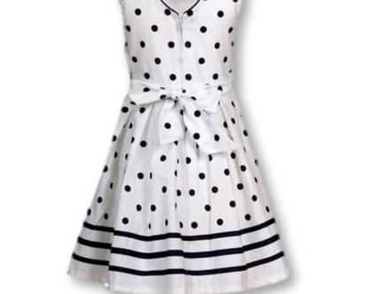 שמלת נקודות לילדה   שמלה מסתובבת לילדה   שמלה לבנה לילדה