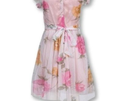שמלה מסתובבת לילדה   שמלה פרחונית לילדה   רשת מודפסת פרחים עם בטנה כותנה ורודה חגורה -