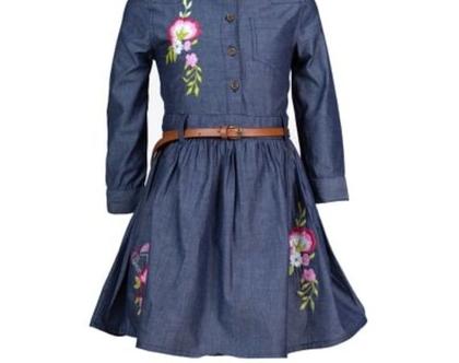 שמלת ג'ינס דק שרוול ארוך ורקמות פרחים לורן