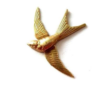 """ציפור מתכת וינטג', סנונית מתכת לתכשיטנות, 31 מ""""מ על 27 מ""""מ, חלקי תכשיטים מיוחדים-2 סנוניות"""