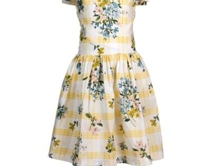 שמלת כותנה לילדה   שמלה מסתובבת לילדה   בצבעי לימון ופרחים