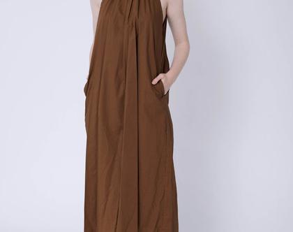 שמלת קולר גומי, שמלה חומה, שמלה שחורה, שמלה בלי שרוול, שמלה שחורה