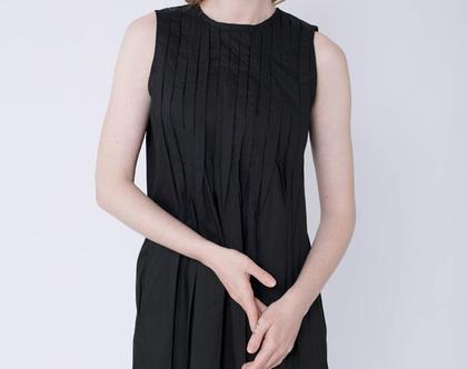 שמלת קפלונים מקסי שחורה, שמלה שחורה, שמלת מקסי, שמלה מיוחדת