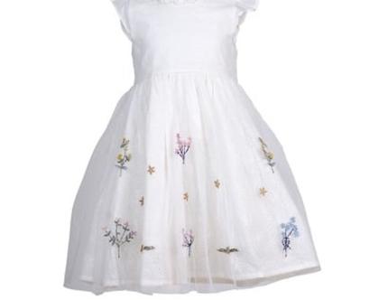 שמלה לבנה לילדה   שמלה חגיגית לילדה   רשת עליונה כותנה רקומה תחתית