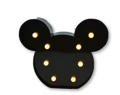 מנורת לדים מיקי-מאוס שחור I מנורת לילה לחדר ילדים I מנורת לד I מיקי מאוס לדים