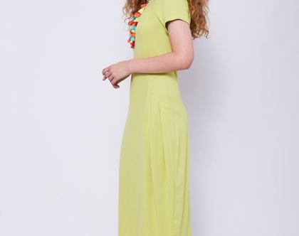 שמלת ג'רסי בצבע לימון -דגם פילוסופית