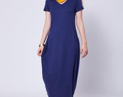 שמלת ג'רסי בצבע כחול רויאל -דגם פילוסופית