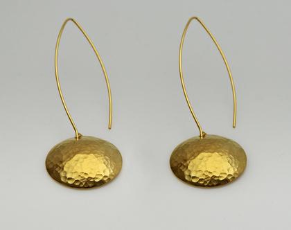 עגילי כסף כיפות מרוקעות בציפוי זהב