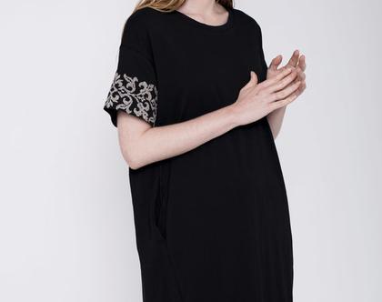 שמלה רקומה, שמלה שחורה, שמלה עם שרוול קצר, שמלה באורך מידי, שמלה ורודה מיוחדת
